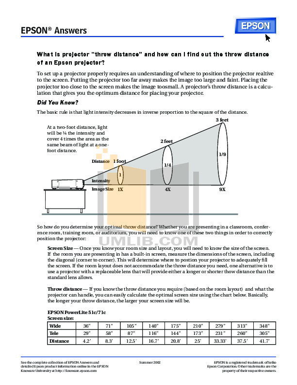 pdf for Epson Projector PowerLite 52c manual