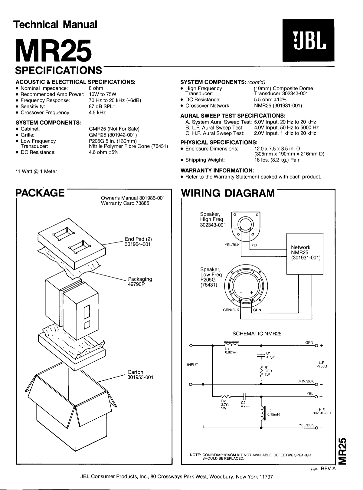 Jbl mr b wiring diagram and schematic