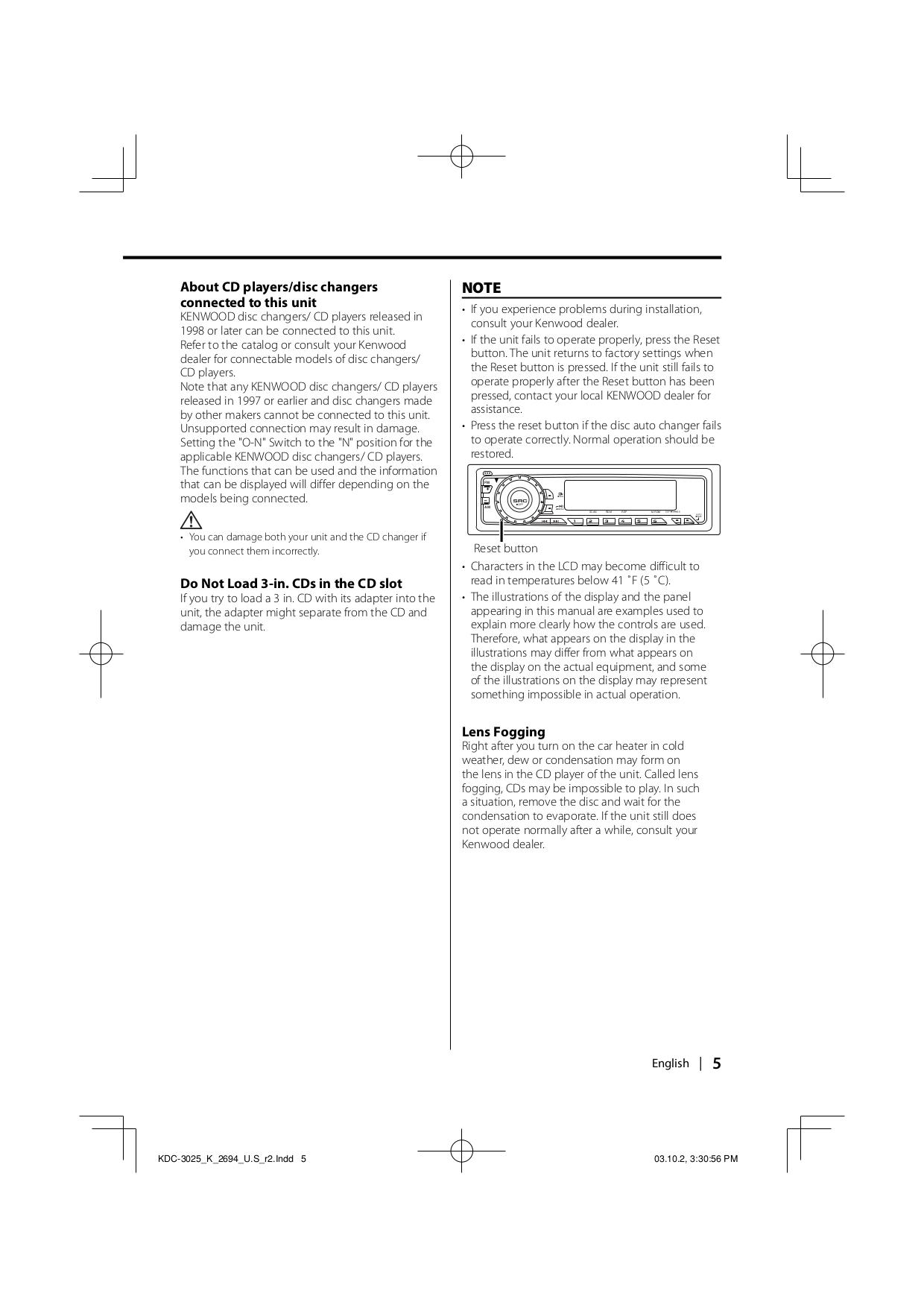 PDF manual for Kenwood Car Receiver KDC-325