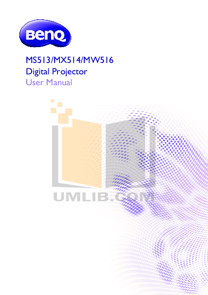 pdf for Benq Projector MW516 manual