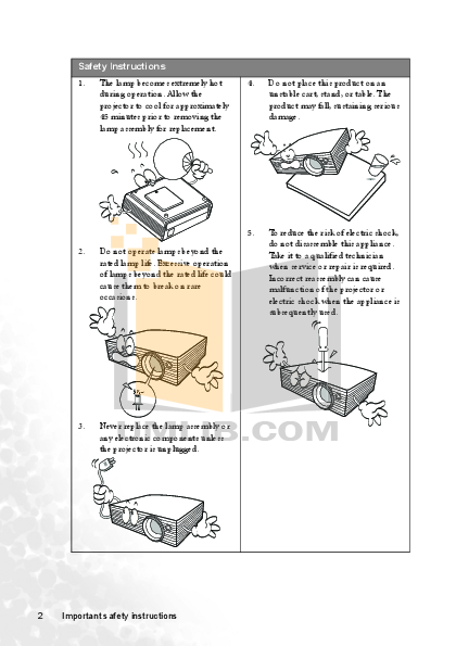 Benq Projector MP721 pdf page preview