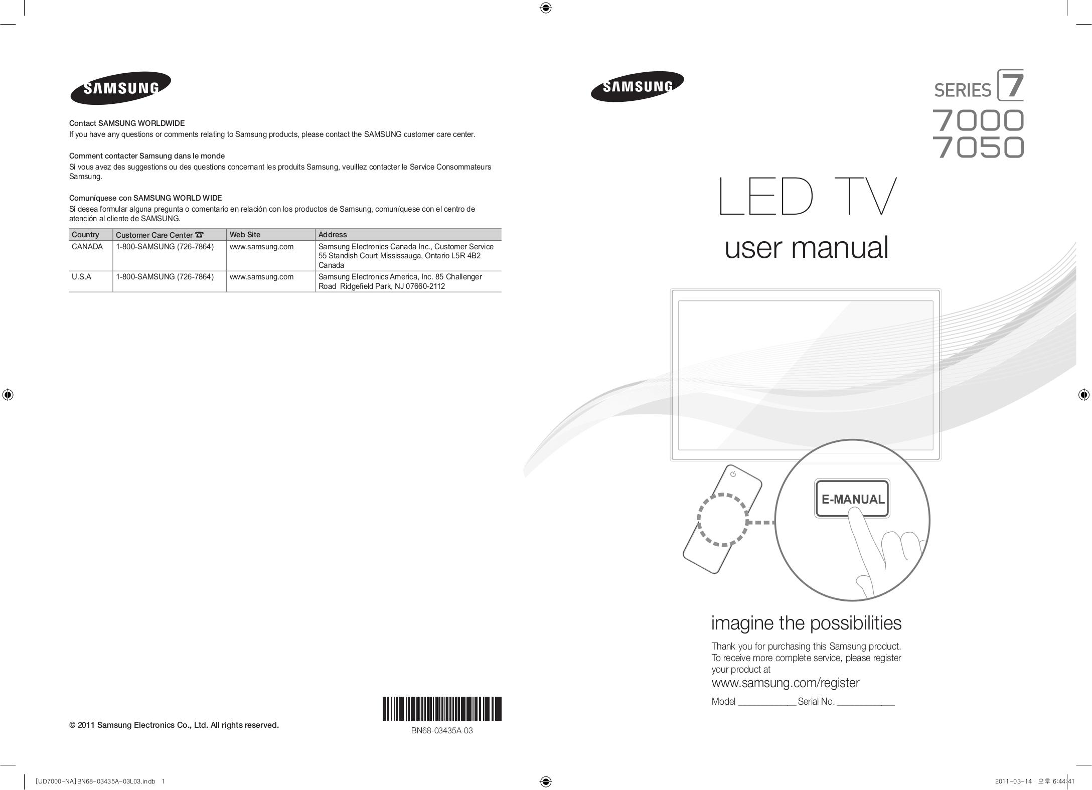 download free pdf for samsung un55d7000 tv manual