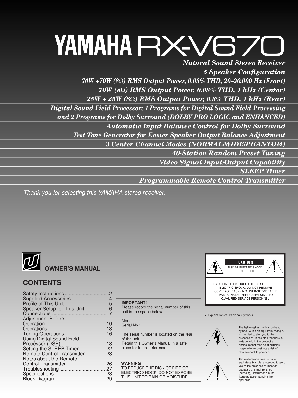 Download free pdf for yamaha rx v670 receiver manual for Yamaha rx v1600 manual