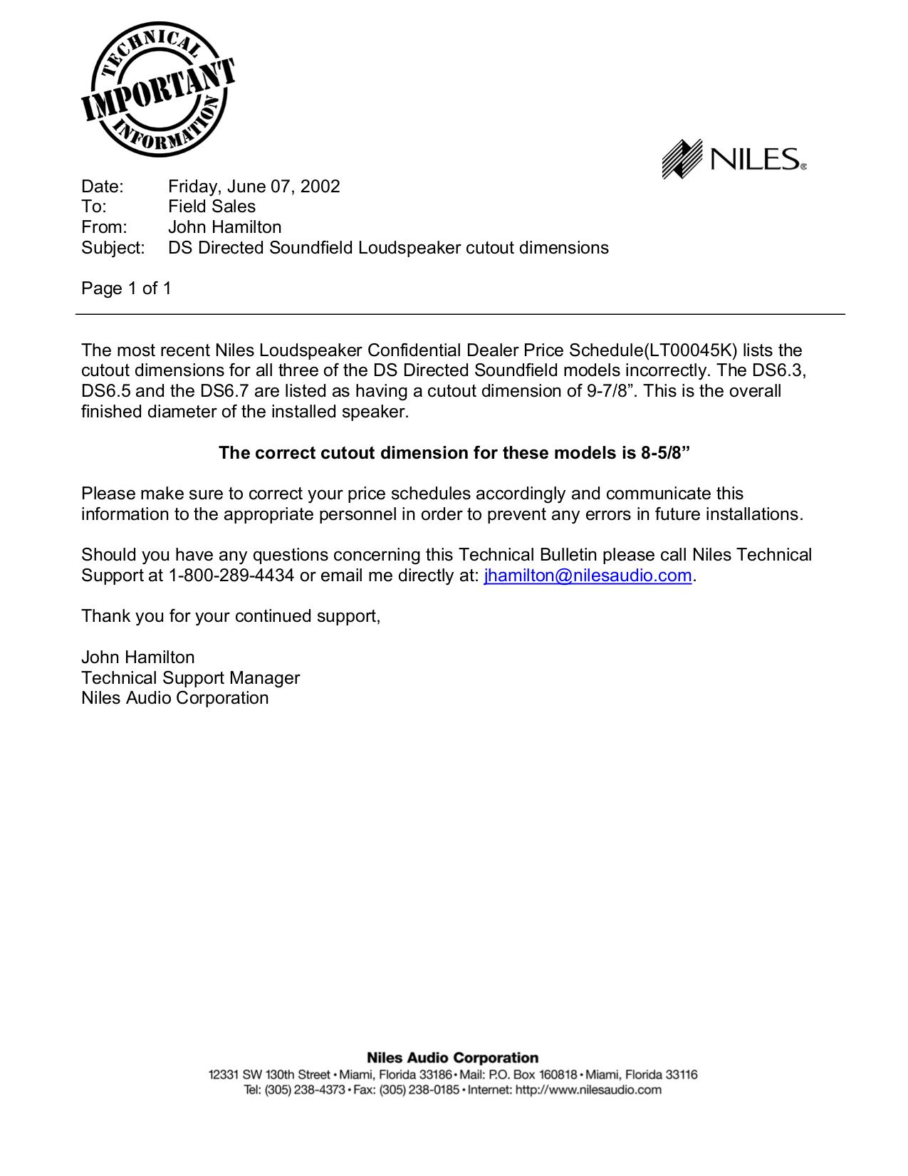 pdf for Niles Speaker DS6.7 manual