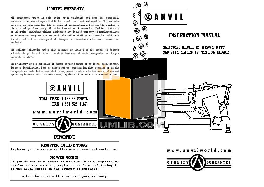 pdf for Anvil Other SLR7412 Slicers manual