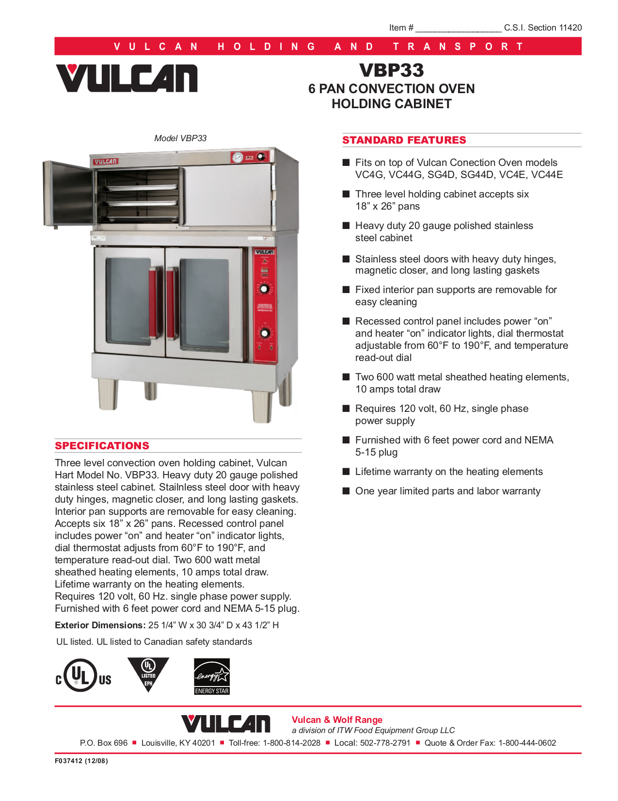pdf for Vulcan Oven SG4D manual