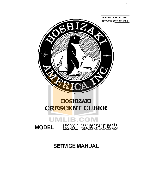 pdf for Hoshizaki Other KM-1200MWB Cuber Machines manual