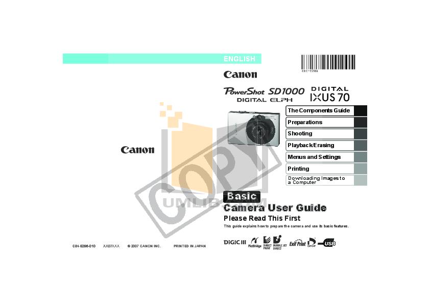 pdf for Canon Digital Camera IXUS II manual