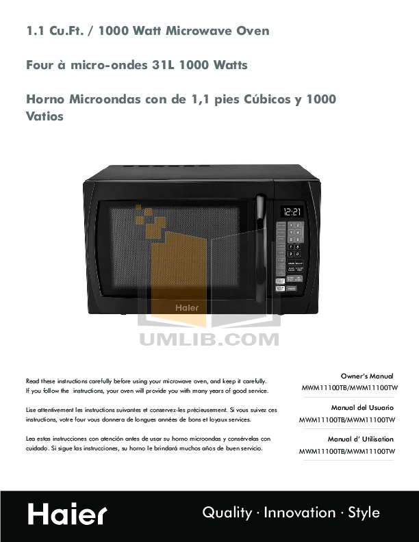 pdf for Haier Microwave MWM11100T manual