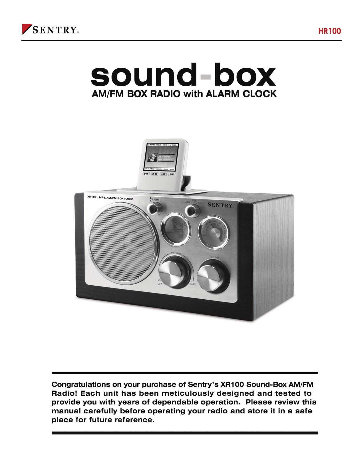 pdf for Sentry Radio XR100 manual