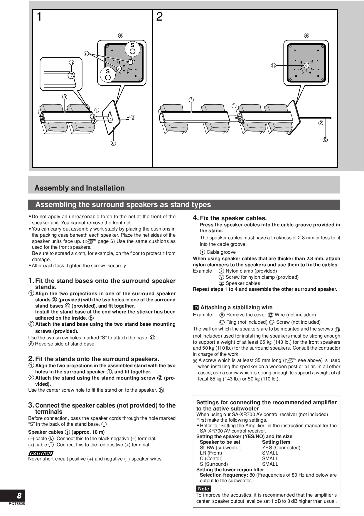 PDF manual for Panasonic Speaker System SB-TP1000
