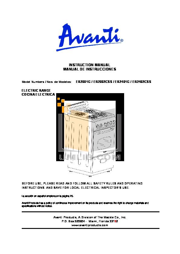 pdf for Avanti Range ER2402CSS manual