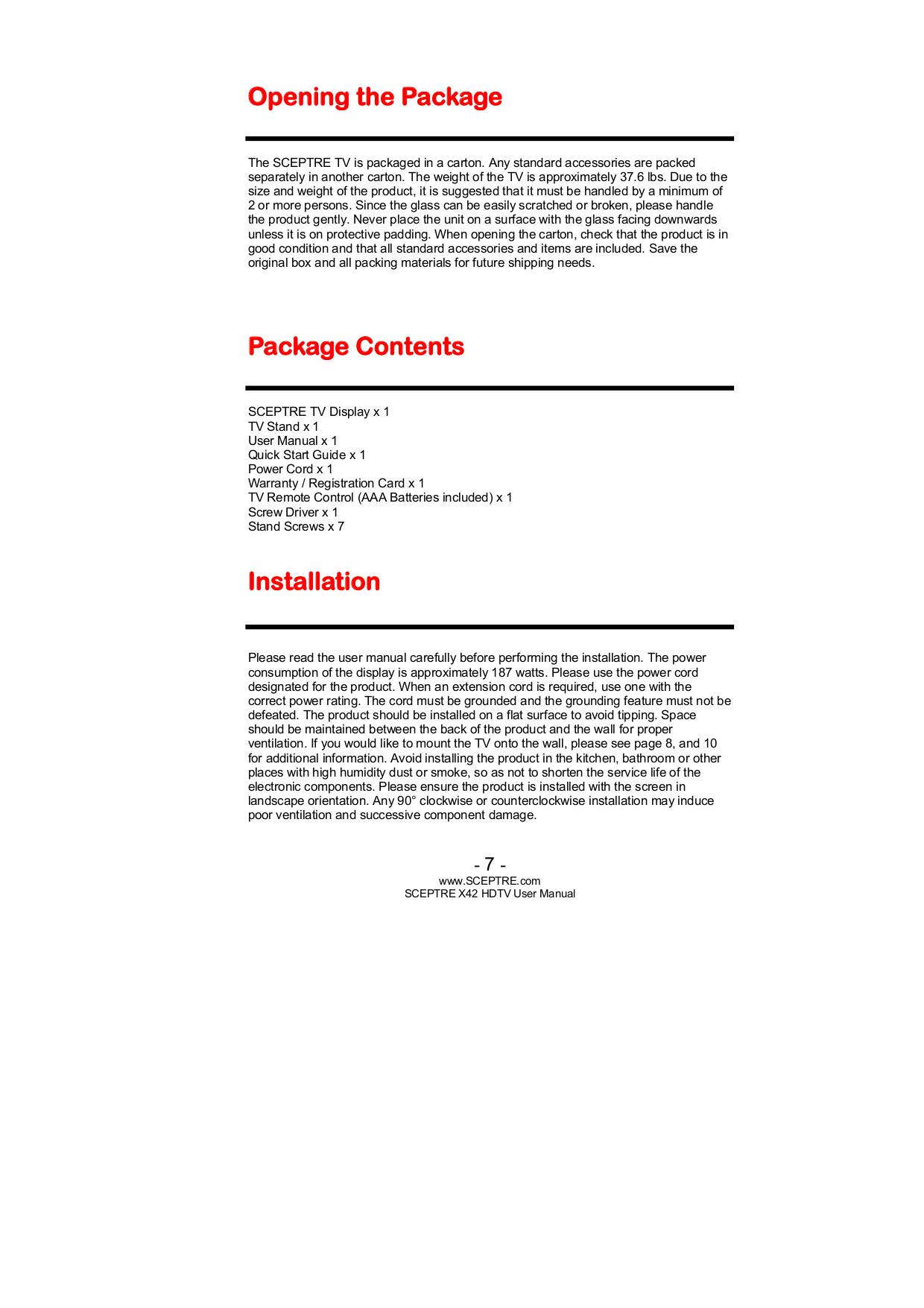 PDF manual for Sceptre TV X420BV-FHD