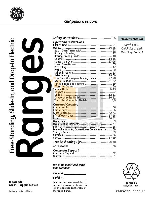 download free pdf for ge phb925stss range manual