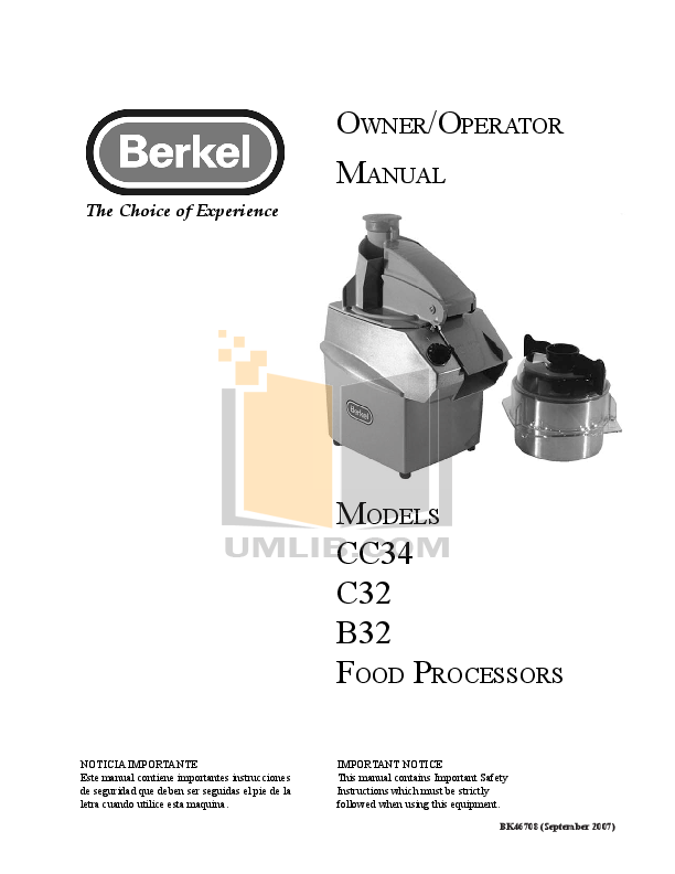 Berkel Food Processor C32 pdf page preview