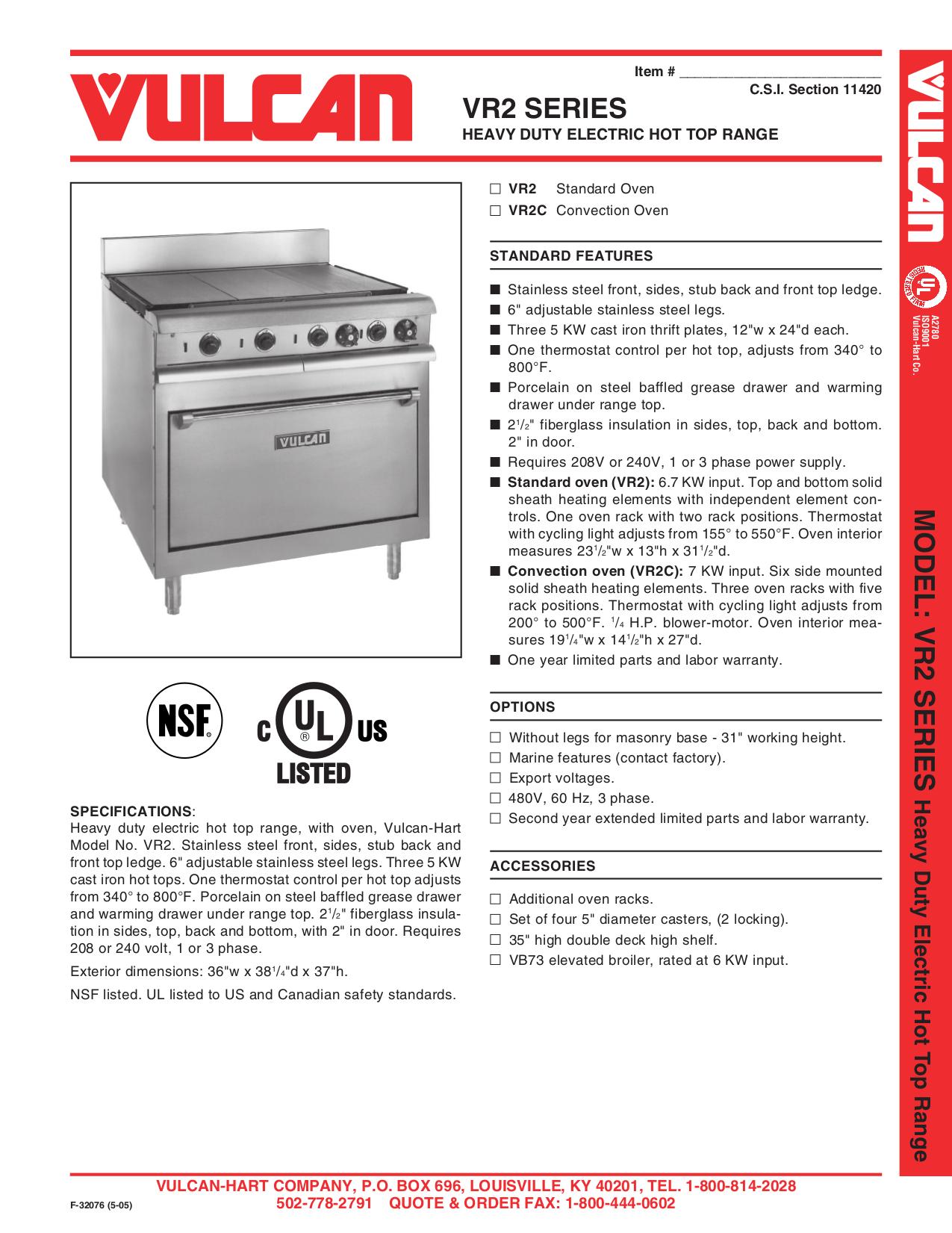 pdf for Vulcan Oven VB73 manual