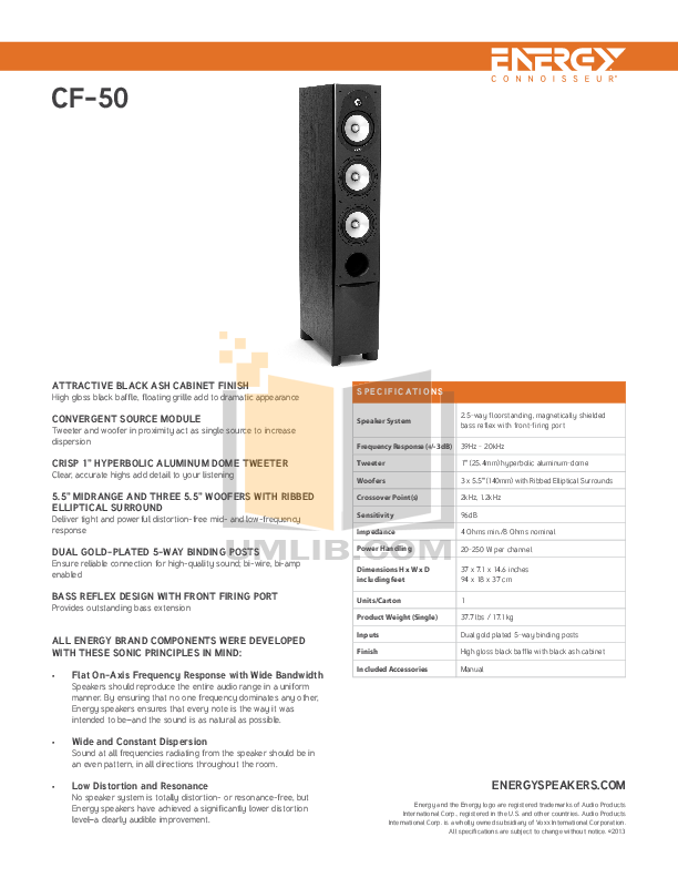 pdf for Energy Speaker Connoisseur CF-50 manual