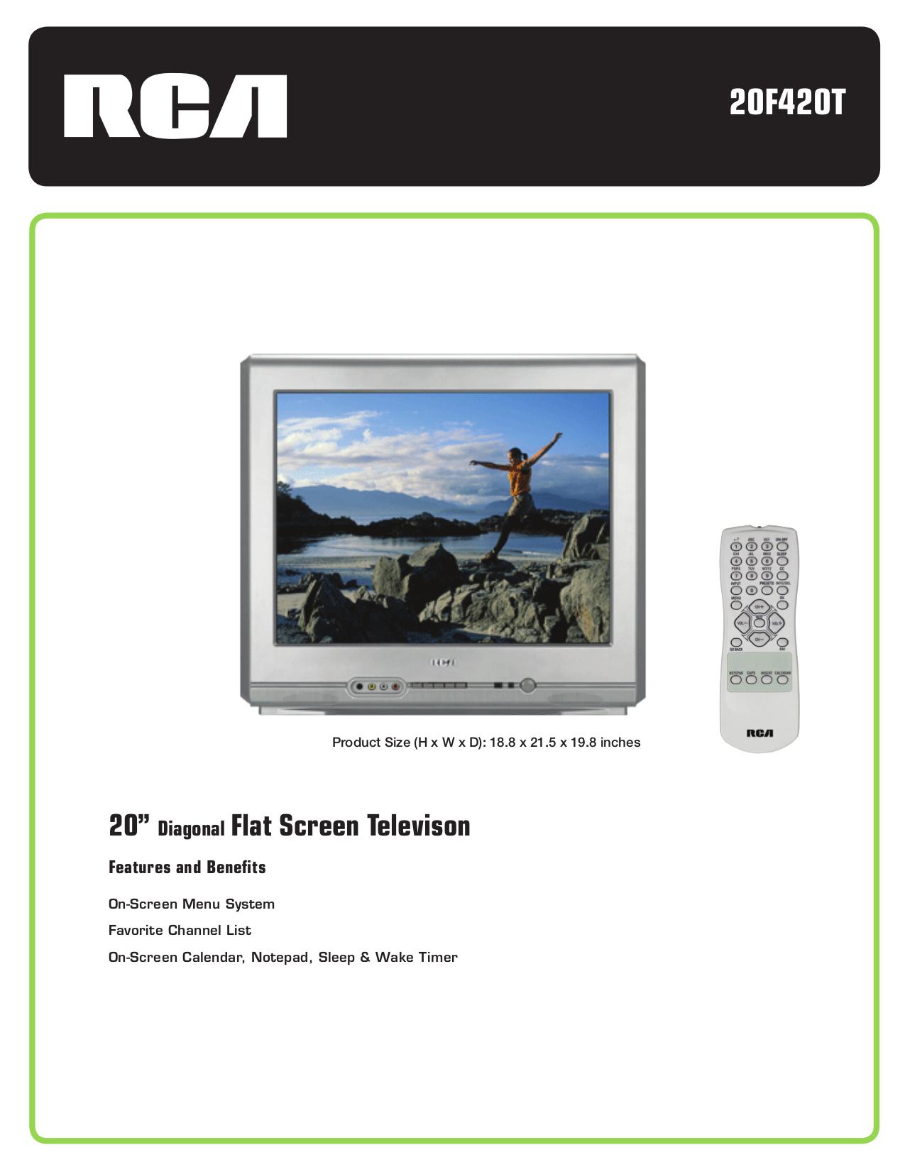 download free pdf for rca 20f420t tv manual rh umlib com RCA SDTV 27V414t 20 RCA SDTV Owner's Manual