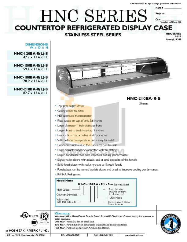 pdf for Hoshizaki Other KN-150E Refrigeration Counter manual