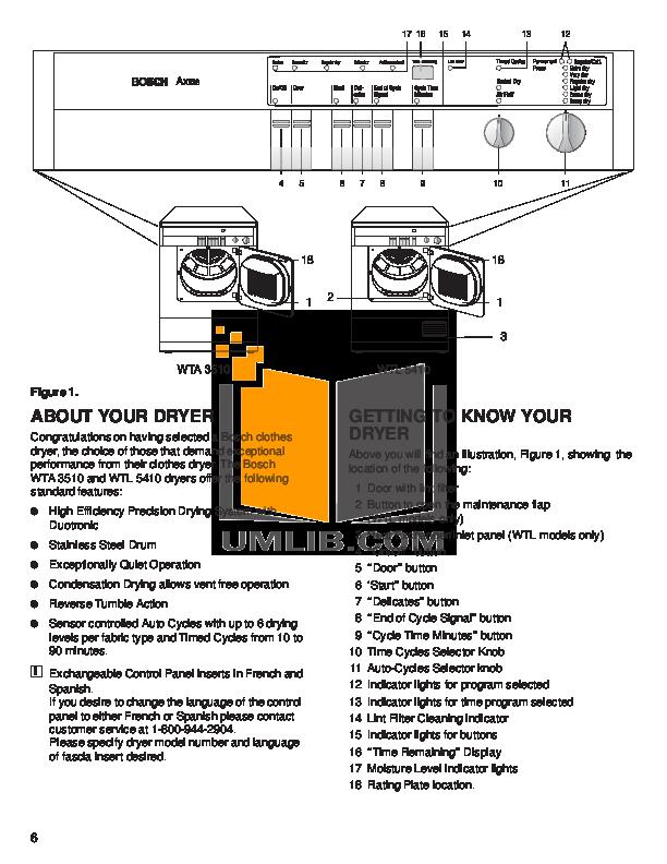 pdf manual for bosch dryer axxis wtl5410uc rh umlib com Instruction Manual Example Owner's Manual