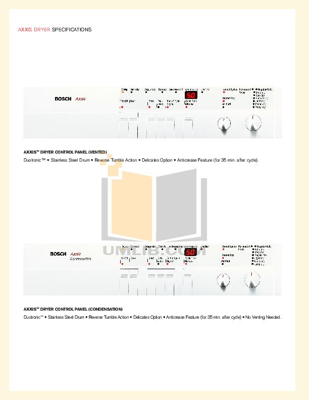 pdf manual for bosch dryer axxis wtl5410uc rh umlib com User Guide Operators Manual