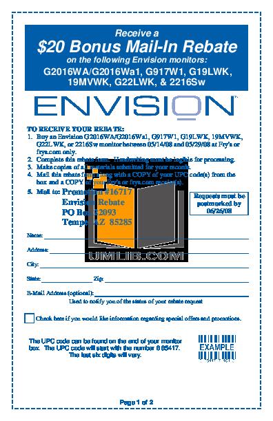 pdf for Envision Monitor G22LWK manual