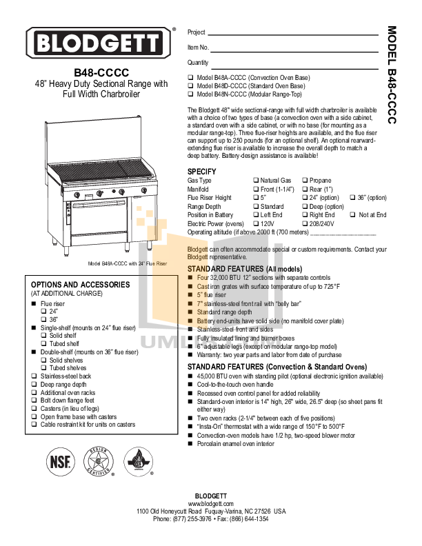 pdf for Blodgett Range B48A-CCCC manual