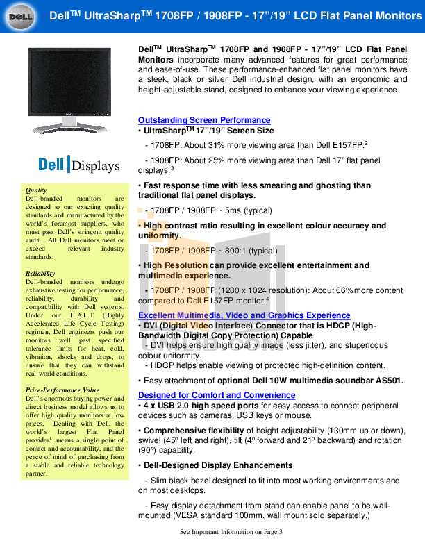 Download free pdf for Dell UltraSharp 1708FP Monitor manual