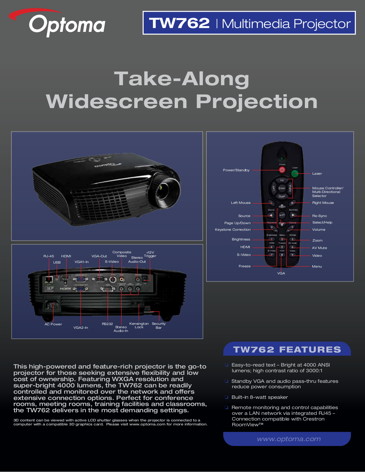 pdf for Optoma Projector TW762 manual