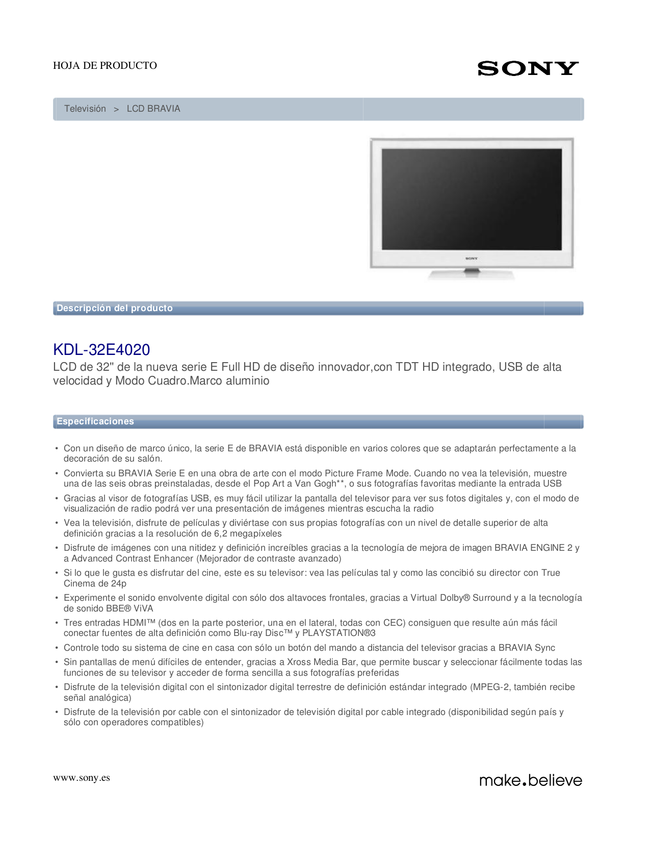 Download free pdf for Sony BRAVIA KDL-32E4020 TV manual