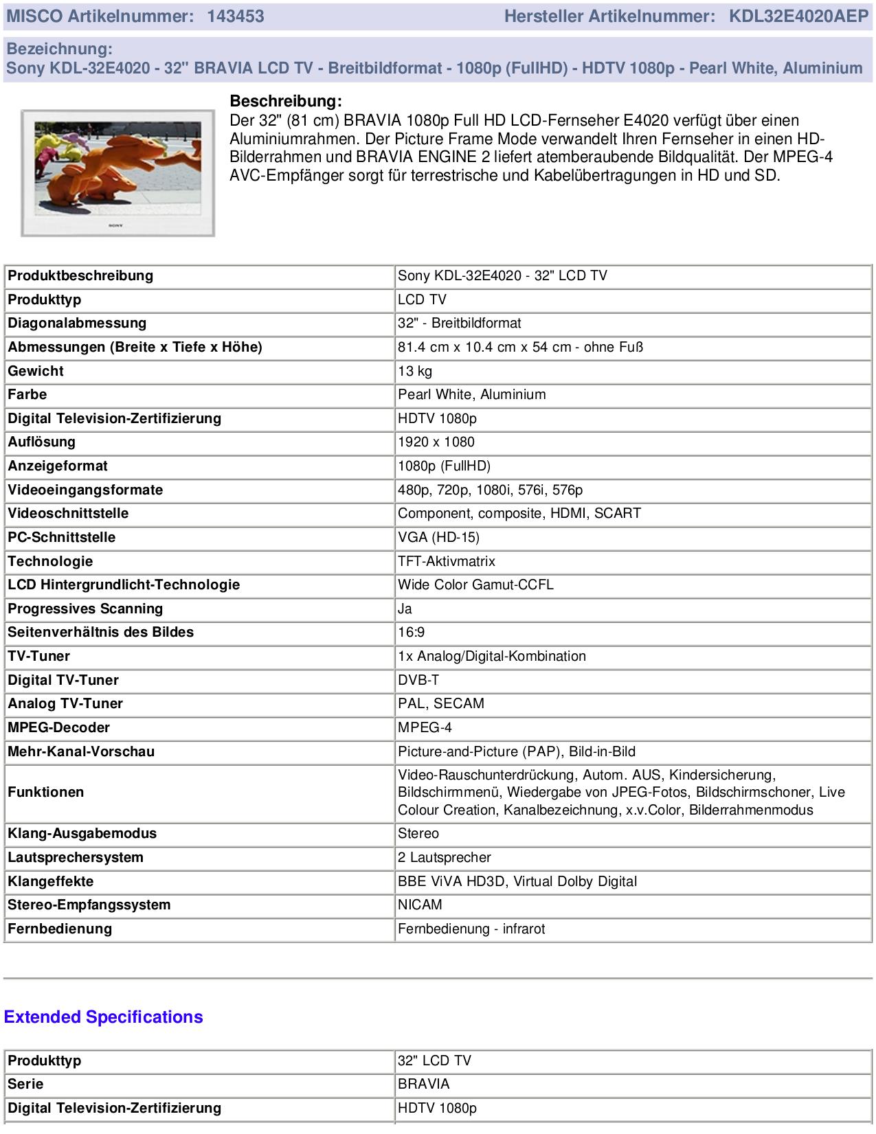 PDF manual for Sony TV BRAVIA KDL-32E4020