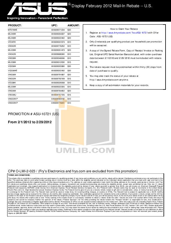 pdf for Asus Monitor VH238H manual