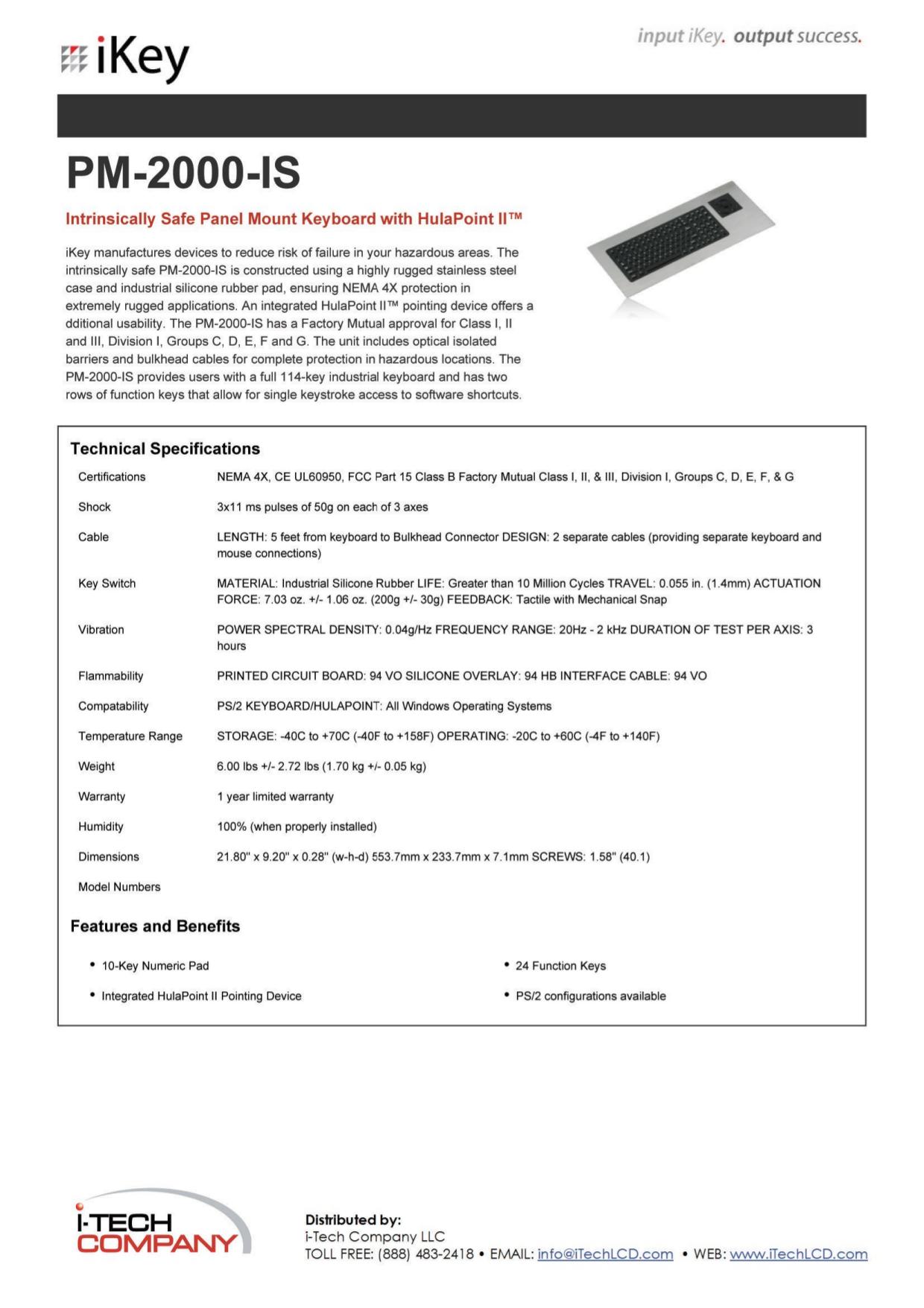 pdf for iKey Keyboard PM-2000 manual