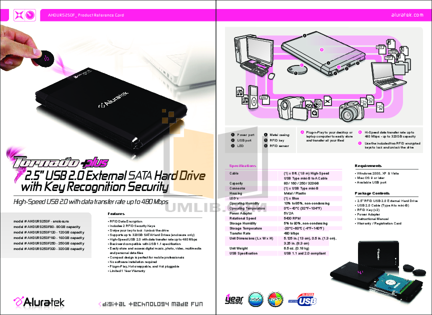 pdf for Aluratek Storage AHDURS250F250 manual