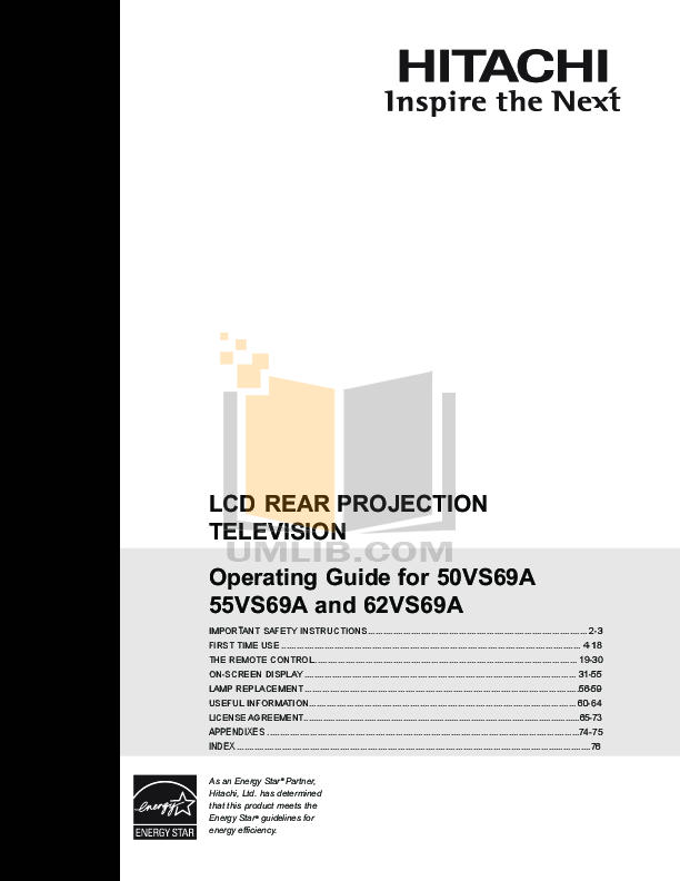 pdf for Hitachi TV 55VS69A manual
