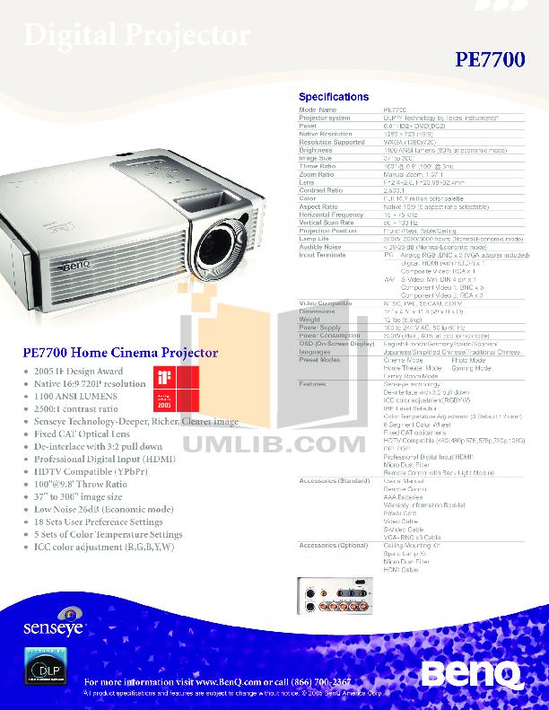 pdf for Benq Projector PE7700 manual