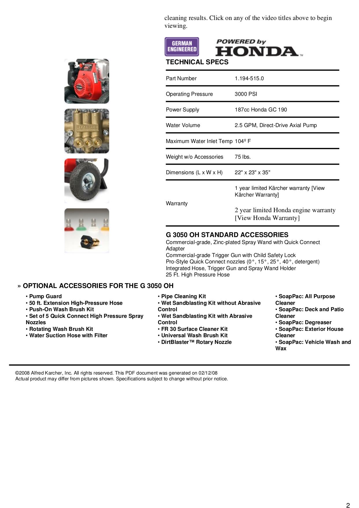 karcher g 3050 oh manual