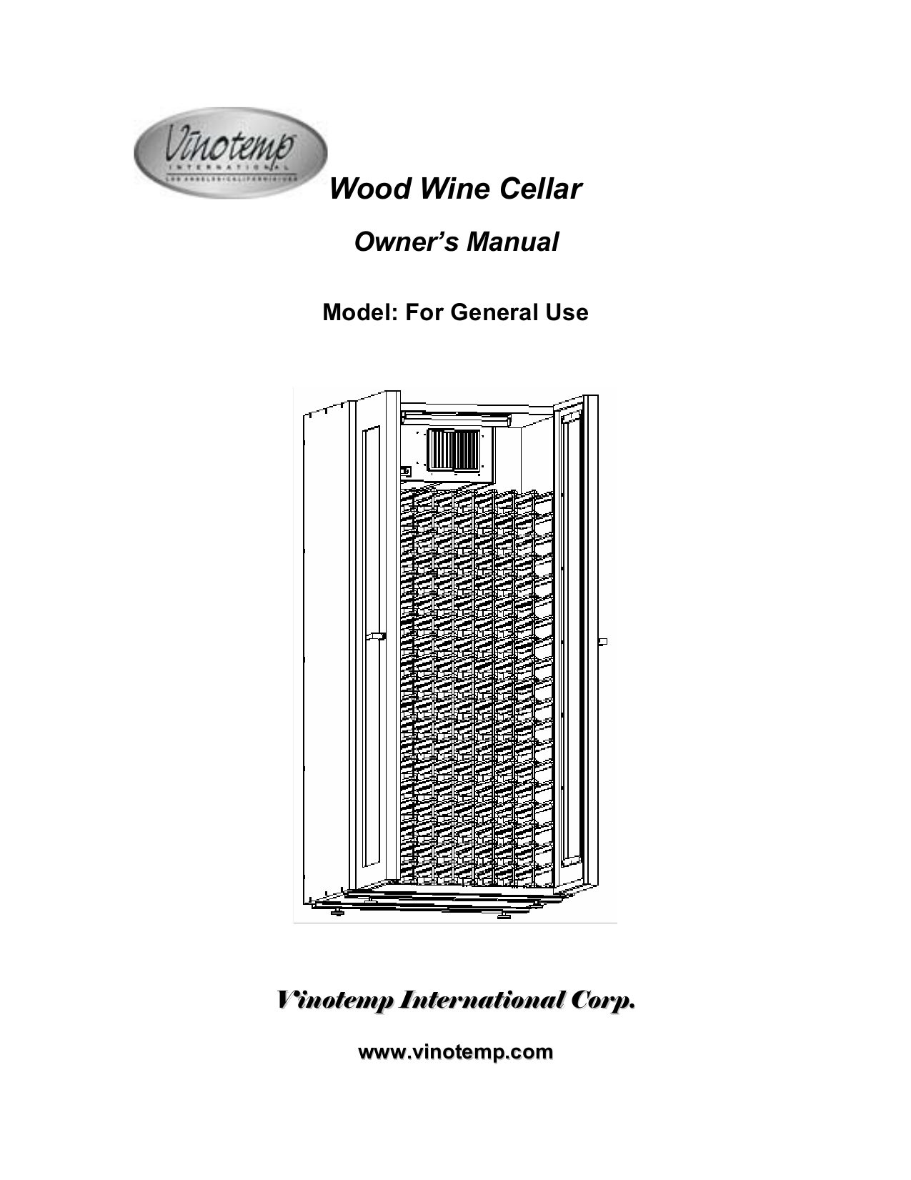 pdf for Vinotemp Refrigerator 700G manual