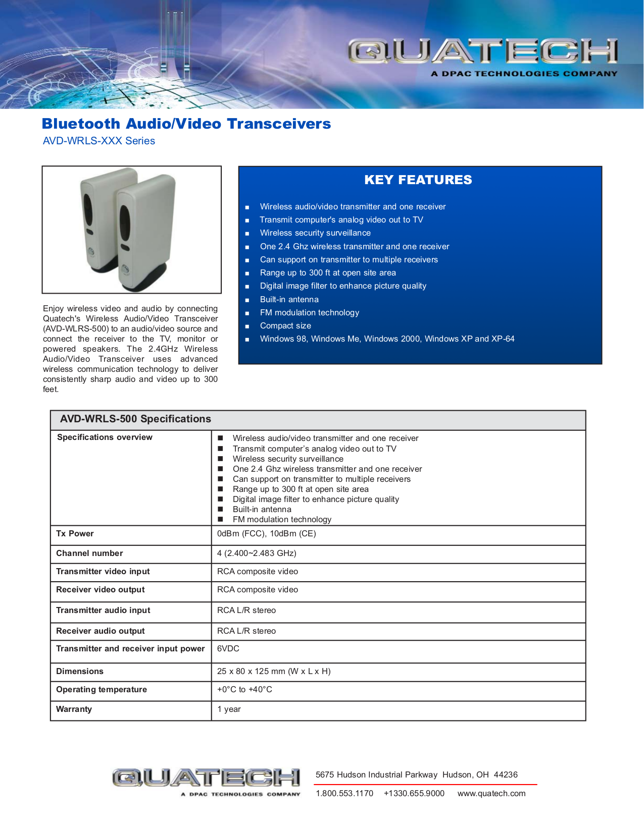 pdf for Quatech Other AVD-WLRS-500 Transceivers manual
