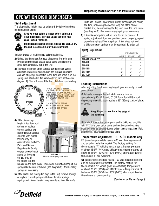 Delfield Other CAB4-1013 Dish Dispensers pdf page preview