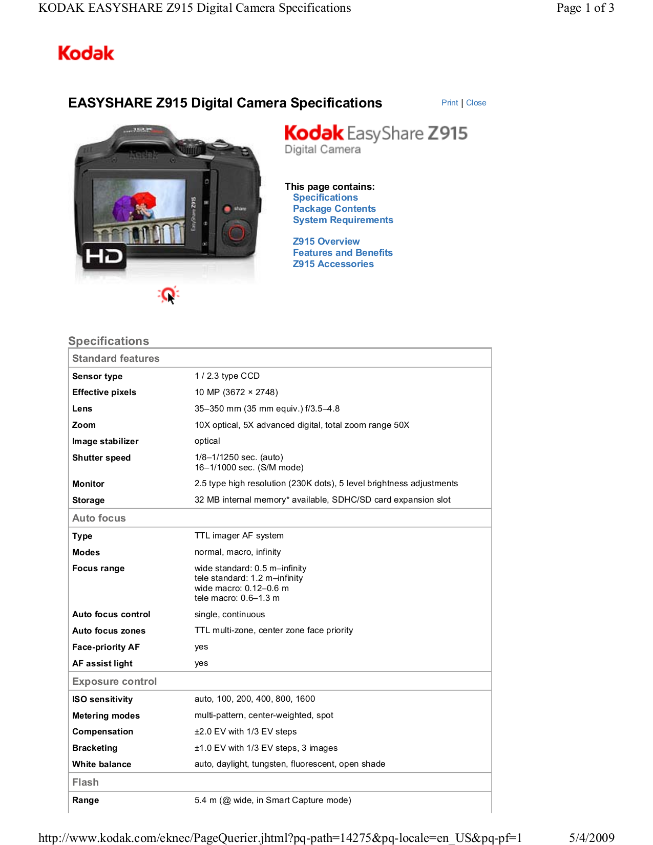 pdf for Kodak Digital Camera EasyShare Z915 manual