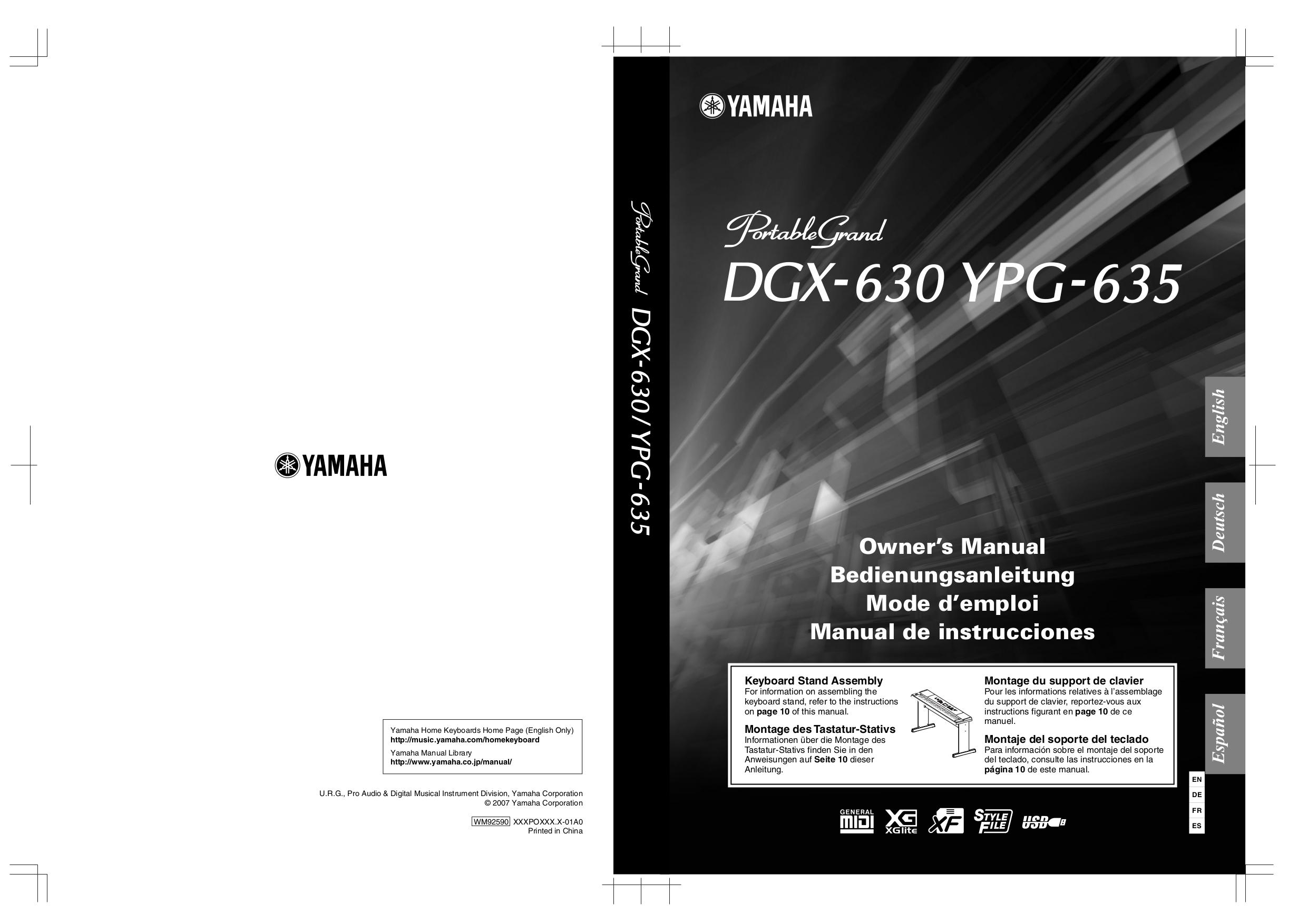 pdf for Yamaha Music Keyboard YPG-635 manual