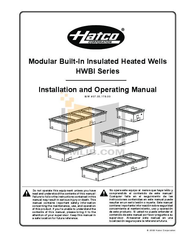 pdf for Hatco Other HWBI-4D manual