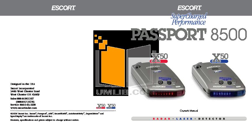 pdf for Escort Radar Detector Passport 8500 X50 manual