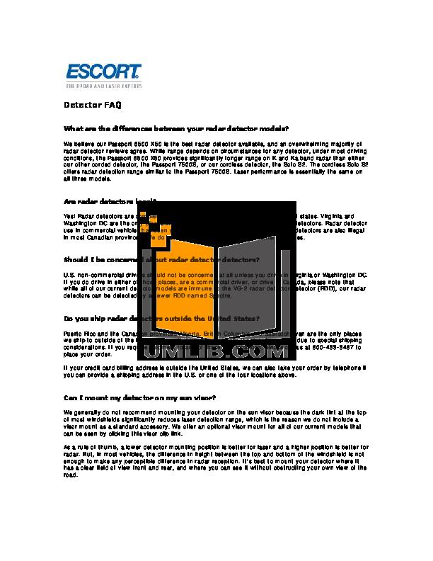 Escort Radar Detector Passport 8500 X50 pdf page preview