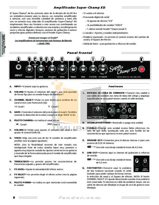 enorme korting uiterst stijlvol groothandel outlet PDF manual for Fender Amp Super Champ-XD