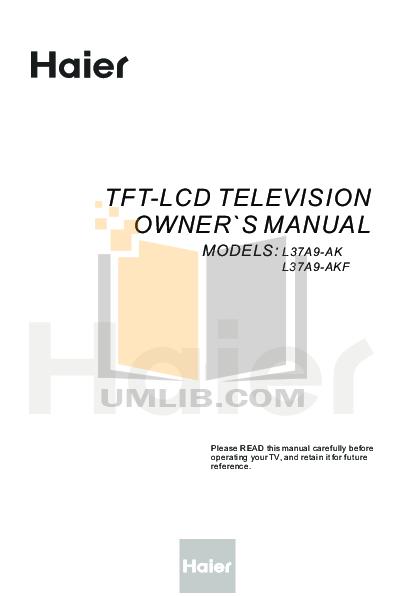pdf for Haier TV L37A9-AK manual