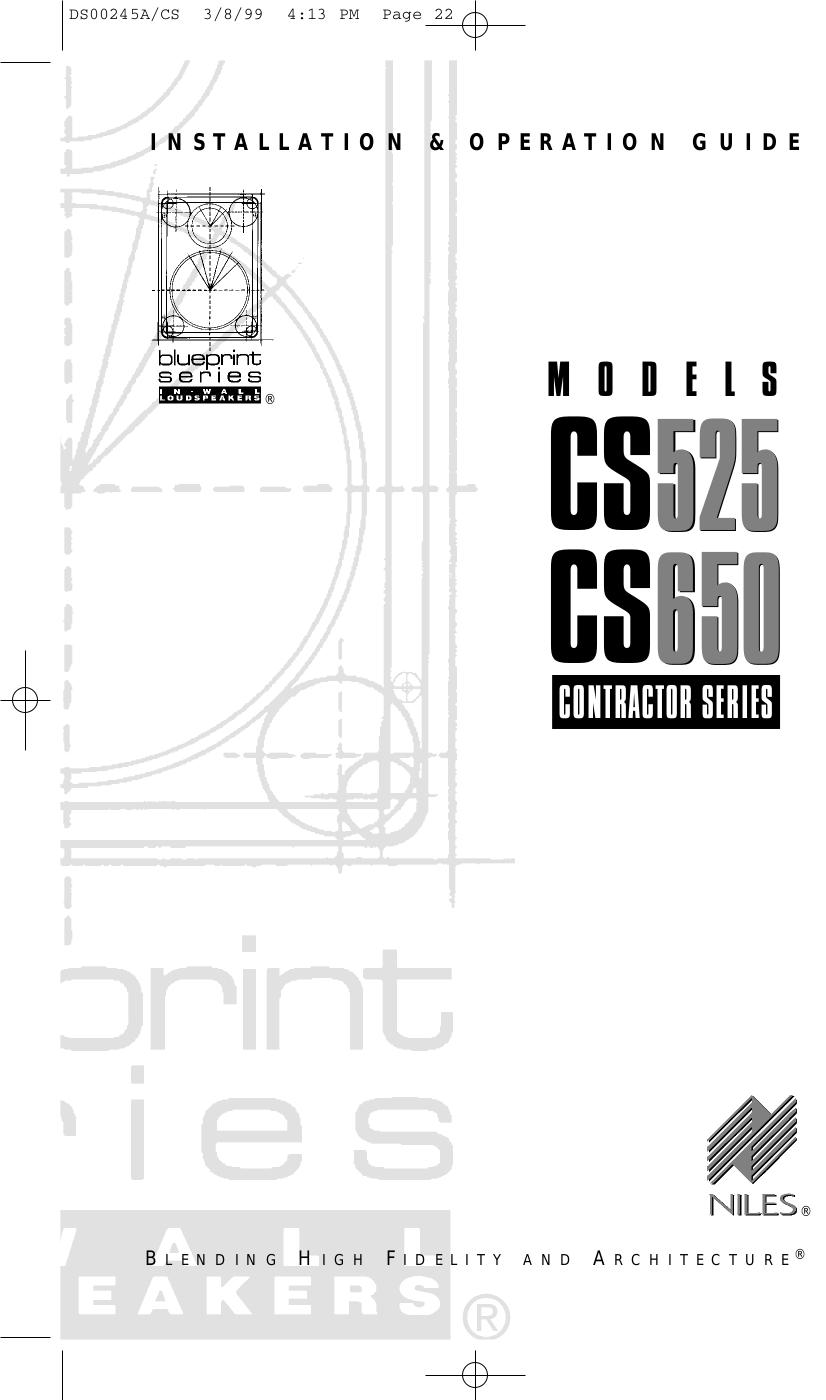 pdf for Niles Speaker CS650 manual