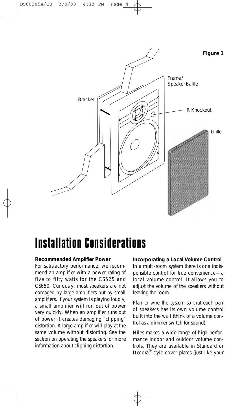 Niles Speaker CS650 pdf page preview