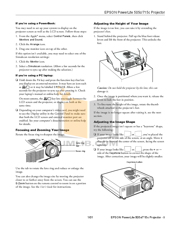 Epson Projector PowerLite 715c pdf page preview